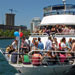 Party is in full swing just prior to leaving dock aborad the private yacht Miss Toronto